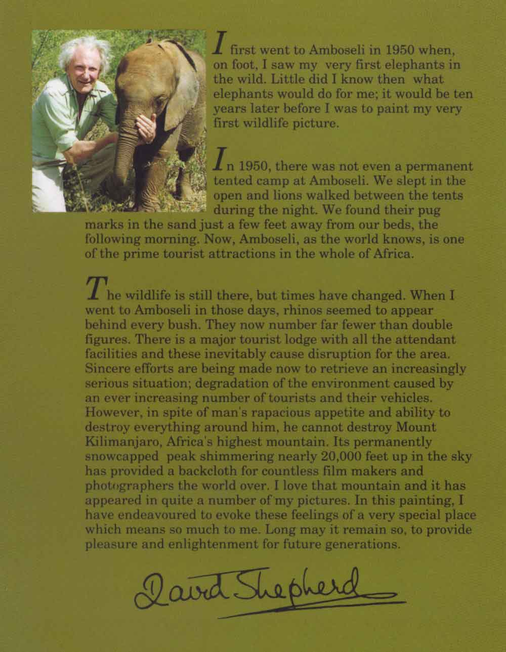 david shepherd amboseli brochure