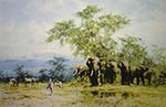 david shepherd Amboseli silkscreen elephants print