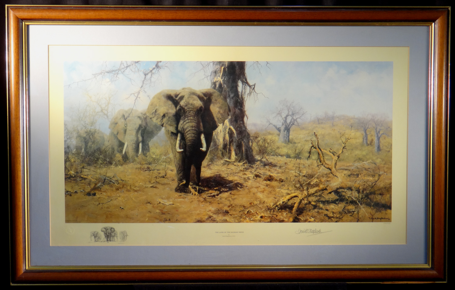 david shepherd, signed print, Land of the Baobab Trees
