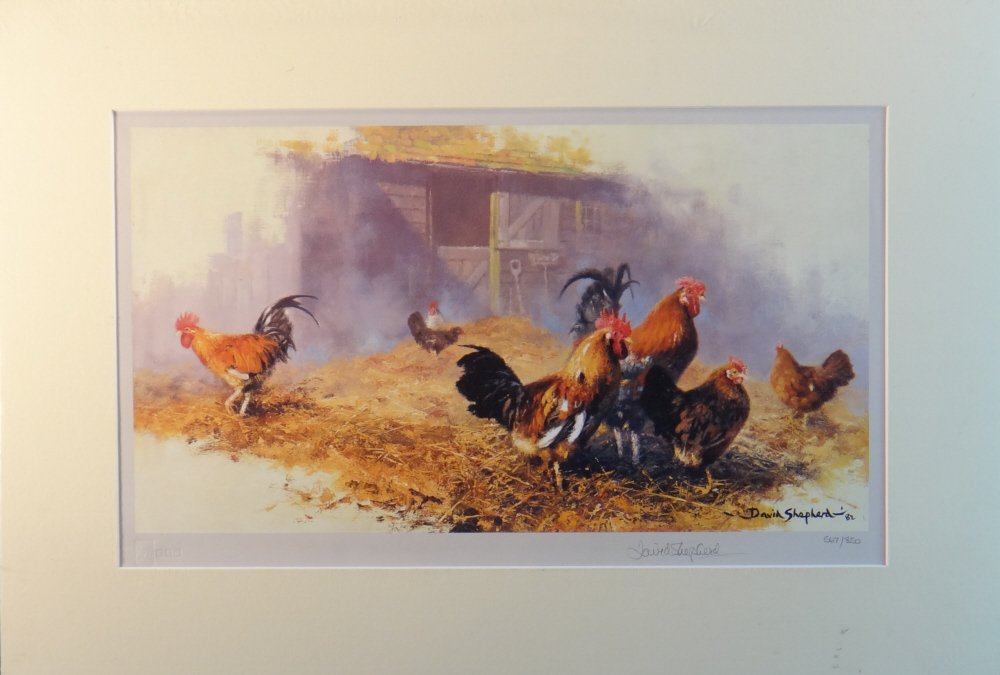 david shepherd roosters, mounted