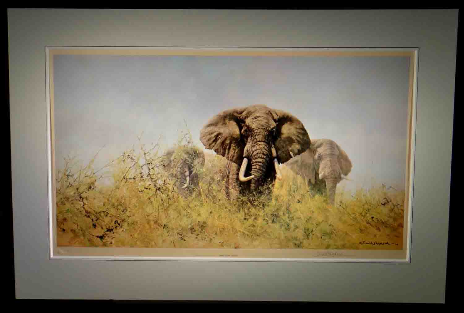 david shepherd signed limited edition print Three Happy Jumbos, elephant