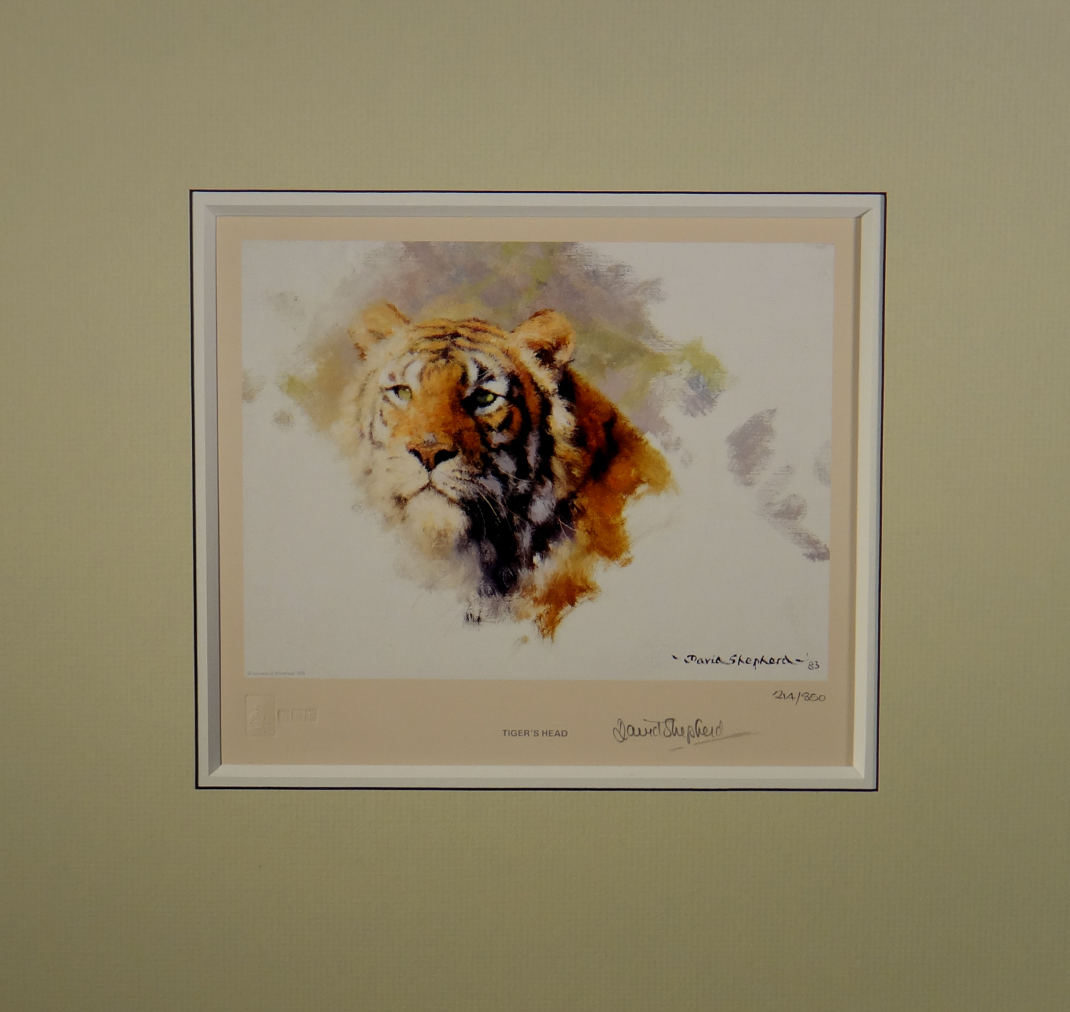 david shepherd,tiger's head, 1983, signed, limited edition, print