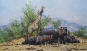 david shepherd watehole trilogy giraffes print 2