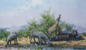 david shepherd watehole trilogy giraffes print 3