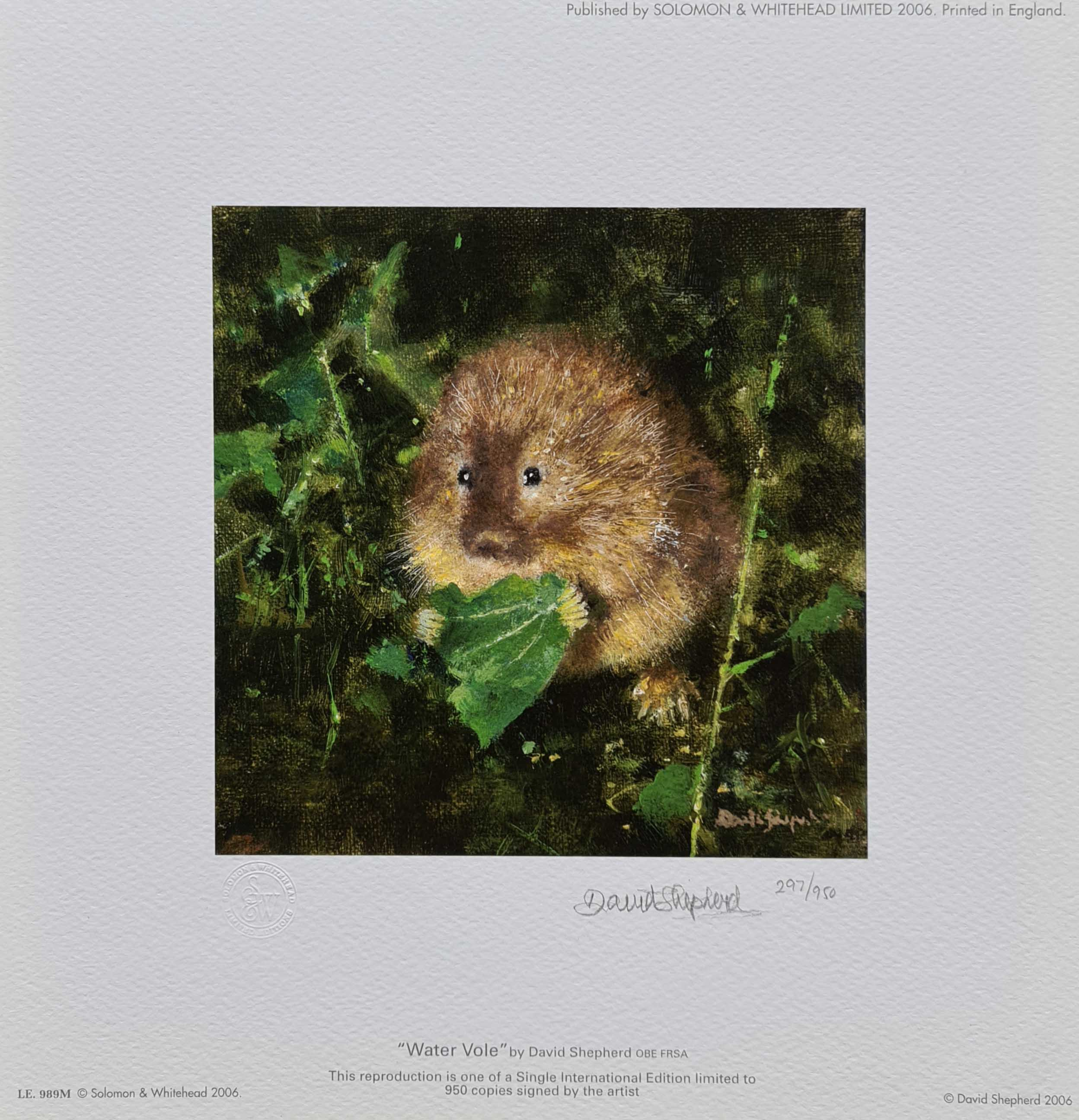 david shepherd, The water vole, print
