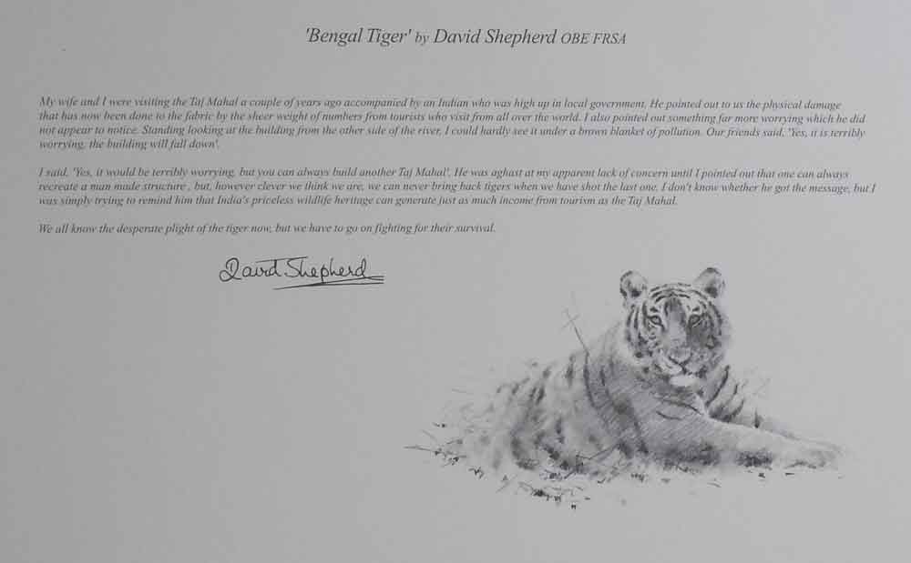 david shepherd wildlife of the world Bengal Tiger, text