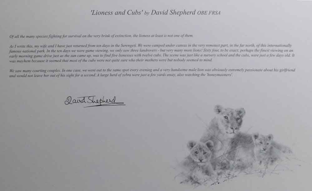 david shepherd wildlife of the world Lioness and Cubs, text