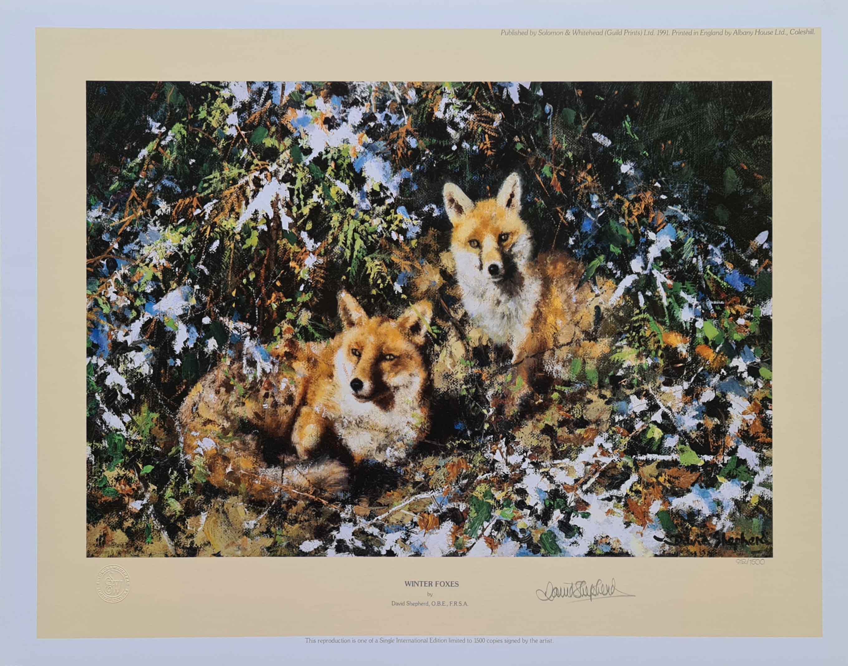 david shepherd winter foxes, signed, limited edition, print