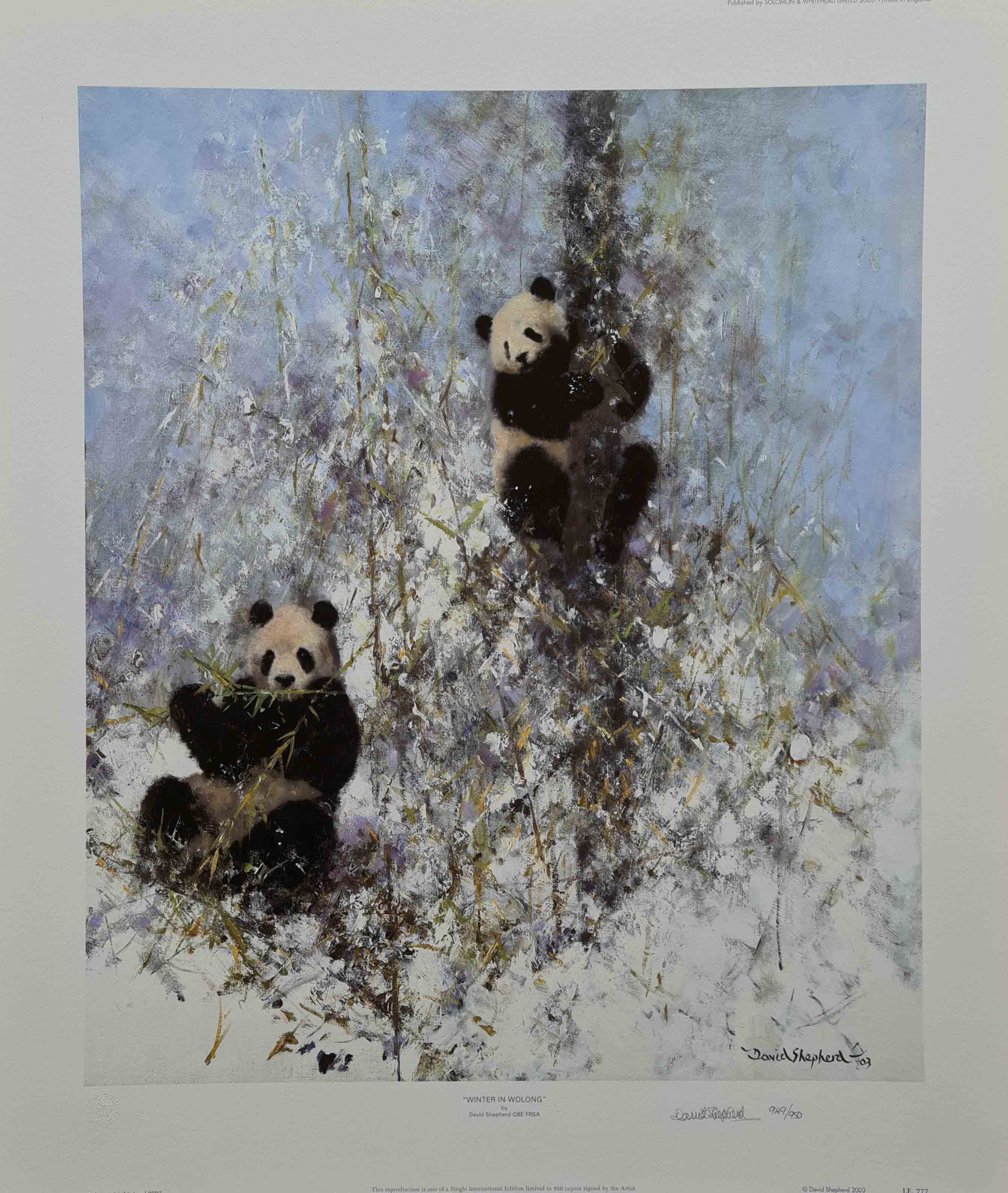 david shepherd winter in wolong