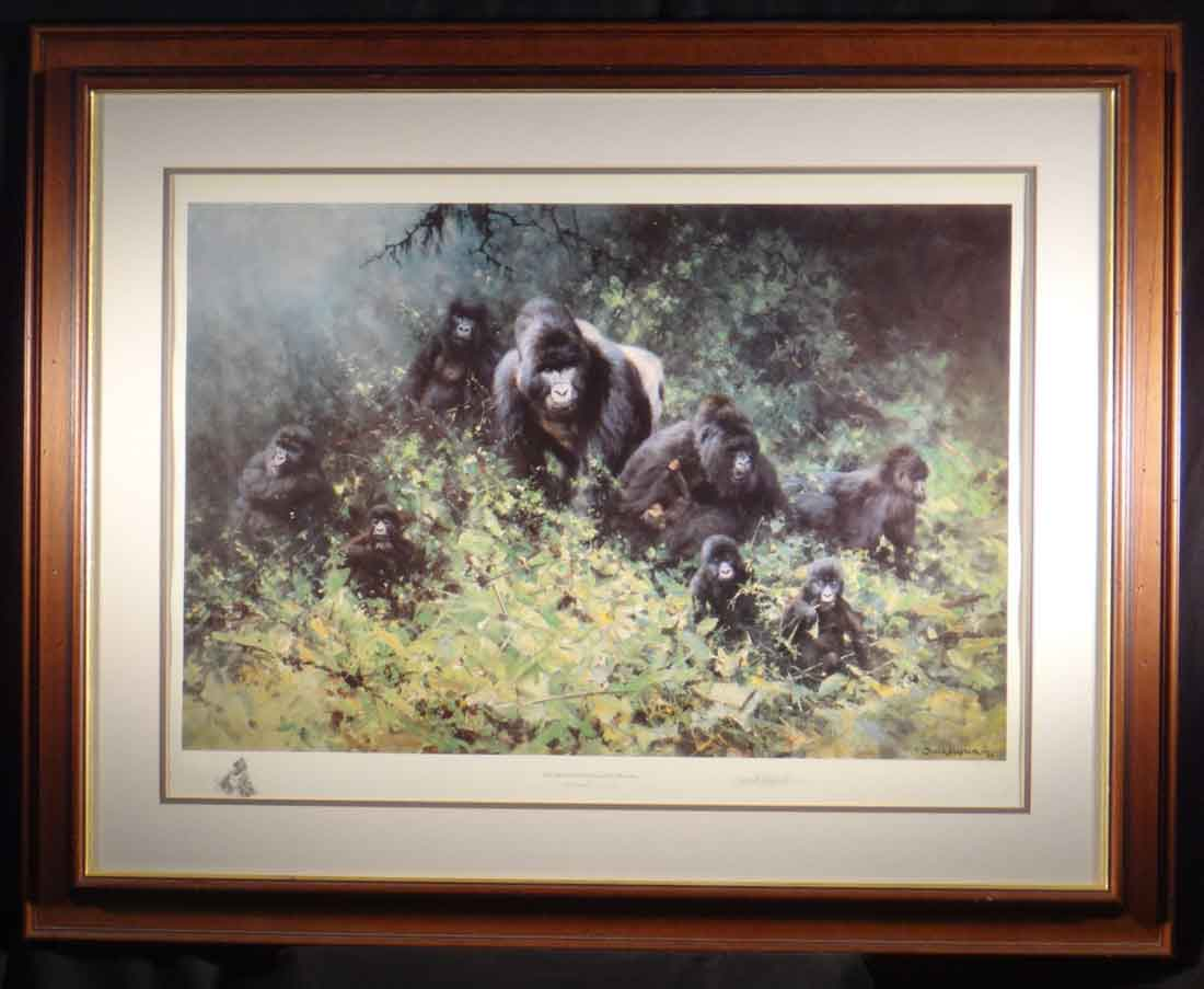 david shepherd mountain gorillas of rwanda, wood frame
